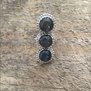 Arrow Divine Silver Labradorite Ring